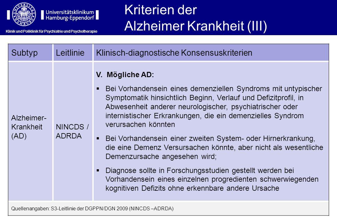 Klinik und Poliklinik für Psychiatrie und Psychotherapie SubtypLeitlinieKlinisch-diagnostische Konsensuskriterien Alzheimer- Krankheit (AD) NINCDS / A