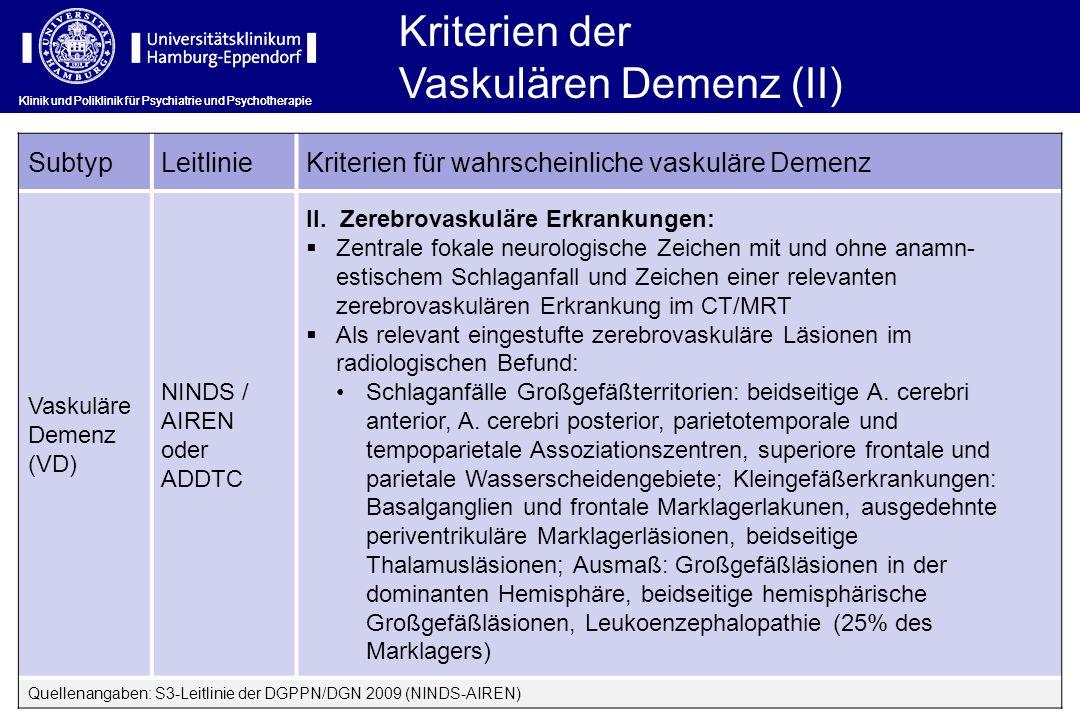 Klinik und Poliklinik für Psychiatrie und Psychotherapie SubtypLeitlinieKriterien für wahrscheinliche vaskuläre Demenz Vaskuläre Demenz (VD) NINDS / A
