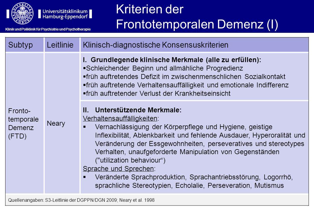 Klinik und Poliklinik für Psychiatrie und Psychotherapie SubtypLeitlinieKlinisch-diagnostische Konsensuskriterien Fronto- temporale Demenz (FTD) Neary
