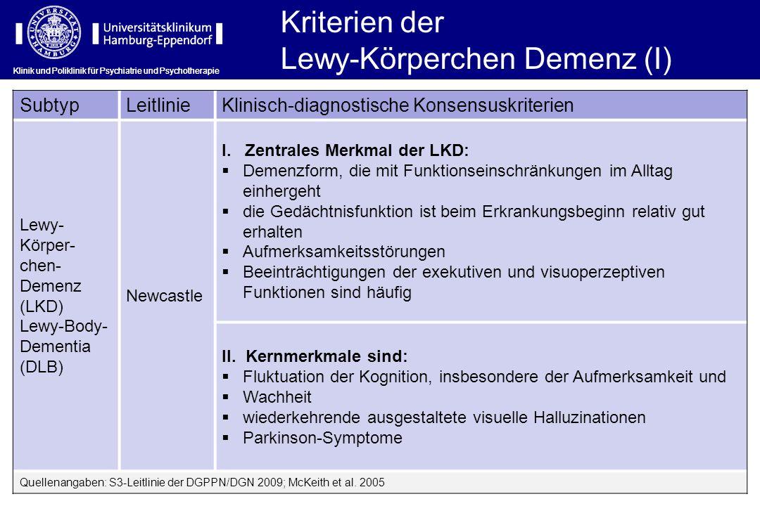 Klinik und Poliklinik für Psychiatrie und Psychotherapie Kriterien der Lewy-Körperchen Demenz (I) SubtypLeitlinieKlinisch-diagnostische Konsensuskrite