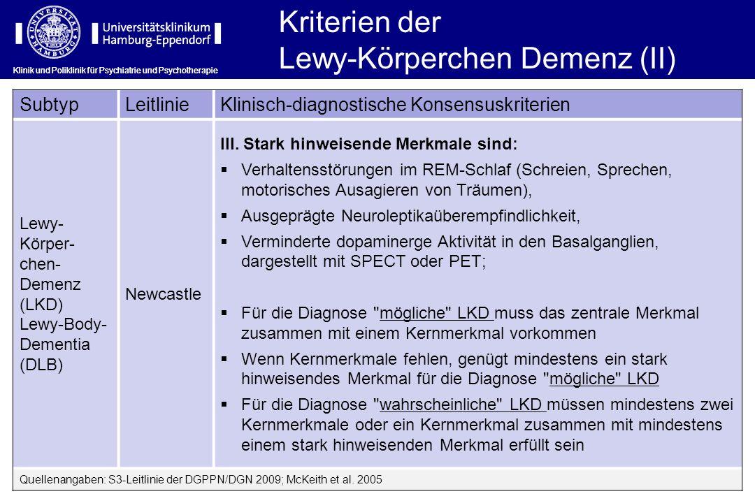 Klinik und Poliklinik für Psychiatrie und Psychotherapie Kriterien der Lewy-Körperchen Demenz (II) SubtypLeitlinieKlinisch-diagnostische Konsensuskrit