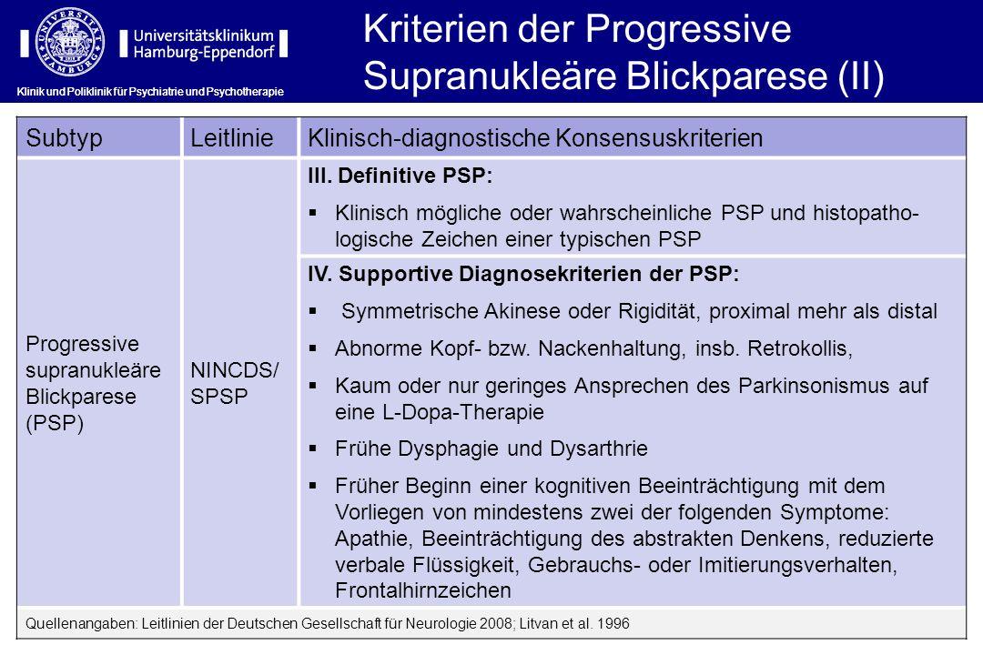 Klinik und Poliklinik für Psychiatrie und Psychotherapie Kriterien der Progressive Supranukleäre Blickparese (II) SubtypLeitlinieKlinisch-diagnostisch