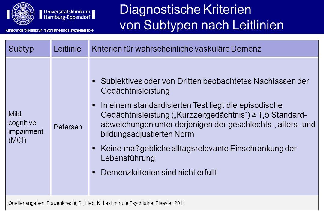 Klinik und Poliklinik für Psychiatrie und Psychotherapie SubtypLeitlinieKriterien für wahrscheinliche vaskuläre Demenz Mild cognitive impairment (MCI)