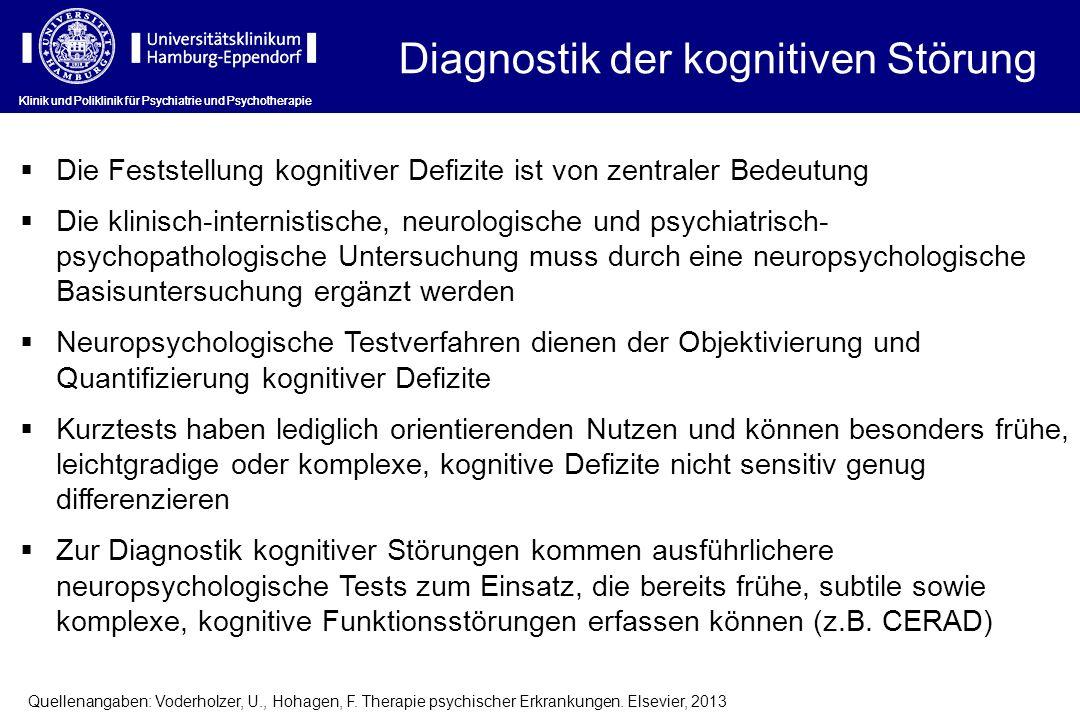 Diagnostik der kognitiven Störung Klinik und Poliklinik für Psychiatrie und Psychotherapie Die Feststellung kognitiver Defizite ist von zentraler Bede
