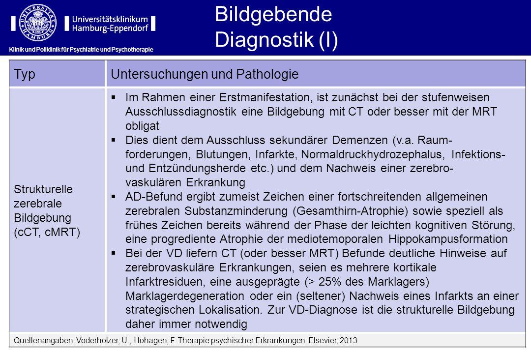 Bildgebende Diagnostik (I) Klinik und Poliklinik für Psychiatrie und Psychotherapie TypUntersuchungen und Pathologie Strukturelle zerebrale Bildgebung