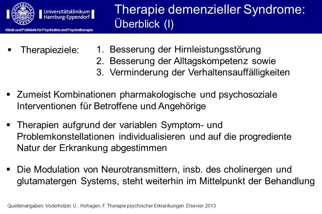 Therapie demenzieller Syndrome: Überblick (I) Klinik und Poliklinik für Psychiatrie und Psychotherapie Therapieziele: 1. Besserung der Hirnleistungsst