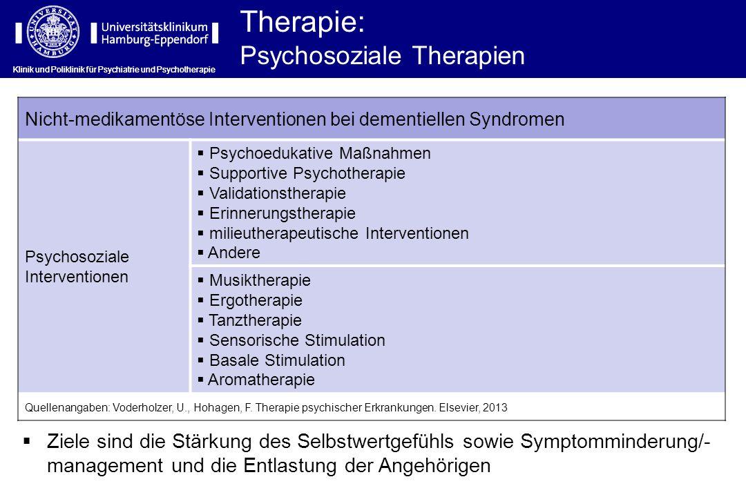 Therapie: Psychosoziale Therapien Klinik und Poliklinik für Psychiatrie und Psychotherapie Nicht-medikamentöse Interventionen bei dementiellen Syndrom