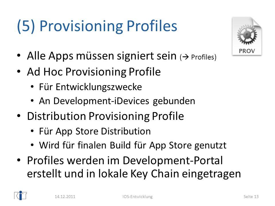 (5) Provisioning Profiles Alle Apps müssen signiert sein ( Profiles) Ad Hoc Provisioning Profile Für Entwicklungszwecke An Development-iDevices gebund