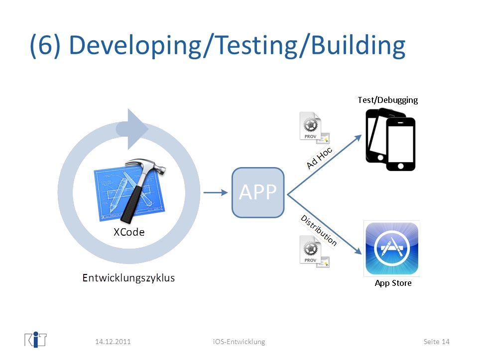 (6) Developing/Testing/Building 14.12.2011iOS-EntwicklungSeite 14