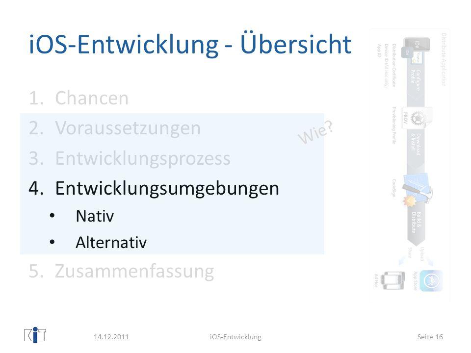 iOS-Entwicklung - Übersicht 1.Chancen 2.Voraussetzungen 3.Entwicklungsprozess 4.Entwicklungsumgebungen Nativ Alternativ 5.Zusammenfassung 14.12.2011iO