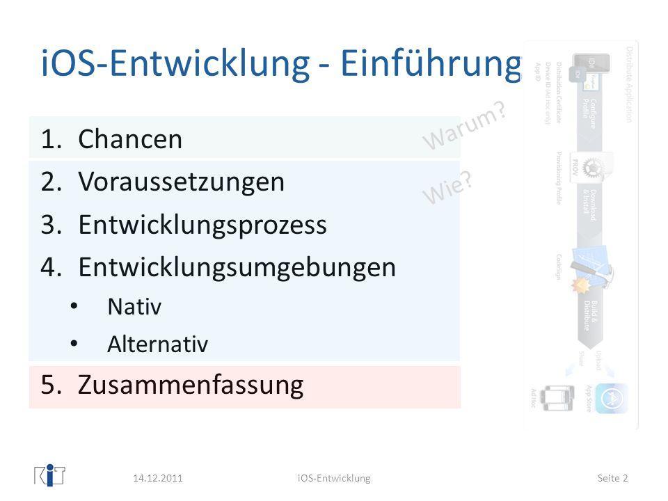 iOS-Entwicklung - Einführung 1.Chancen 2.Voraussetzungen 3.Entwicklungsprozess 4.Entwicklungsumgebungen Nativ Alternativ 5.Zusammenfassung 14.12.2011i