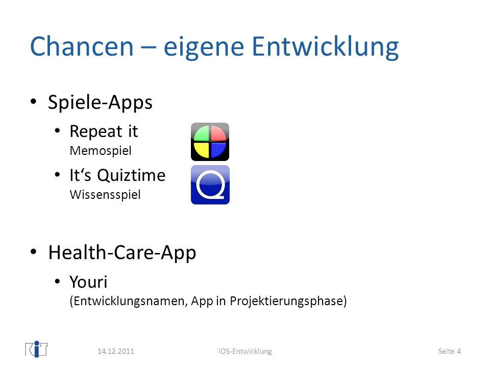 Chancen – eigene Entwicklung Spiele-Apps Repeat it Memospiel Its Quiztime Wissensspiel Health-Care-App Youri (Entwicklungsnamen, App in Projektierungs
