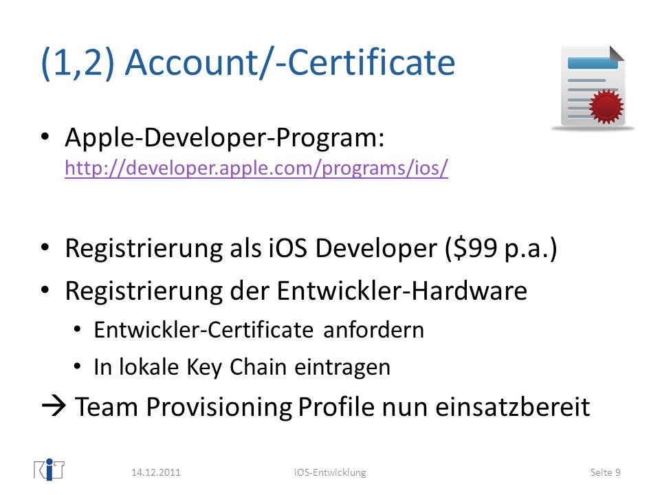 (1,2) Account/-Certificate Apple-Developer-Program: http://developer.apple.com/programs/ios/ http://developer.apple.com/programs/ios/ Registrierung al