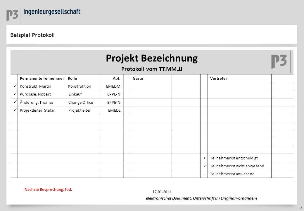 3 Beispiel Protokoll Projekt Bezeichnung IDID DatumFach- bereich ThemaErläuterungen/Information/Beschlüsse/HandlungsbedarfIBAIBA Zu erledigen bis: StatusVerantwortlich 118.01.11EinkaufVergabe- Roadmap Erläutern Sie hier bitte das Thema welches im Meeting besrpochen wird.