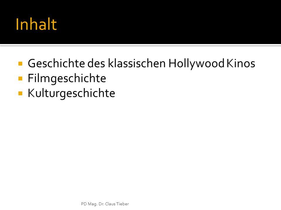 PD Mag. Dr. Claus Tieber Inhalt Geschichte des klassischen Hollywood Kinos Filmgeschichte Kulturgeschichte