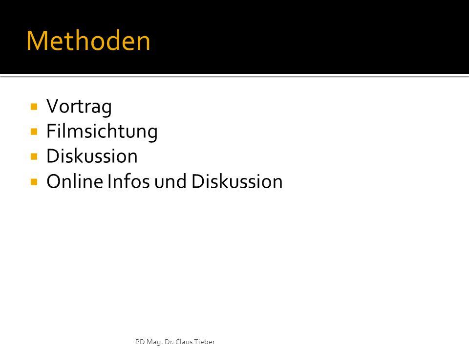 PD Mag. Dr. Claus Tieber Methoden Vortrag Filmsichtung Diskussion Online Infos und Diskussion