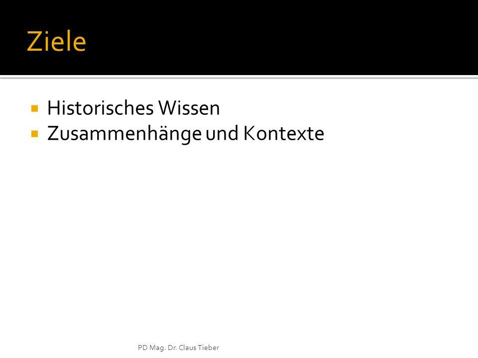 PD Mag. Dr. Claus Tieber Ziele Historisches Wissen Zusammenhänge und Kontexte