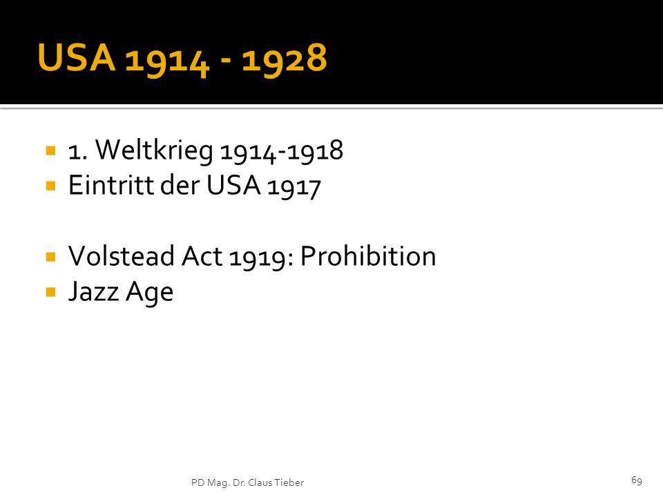 69 PD Mag.Dr. Claus Tieber USA 1914 - 1928 1.