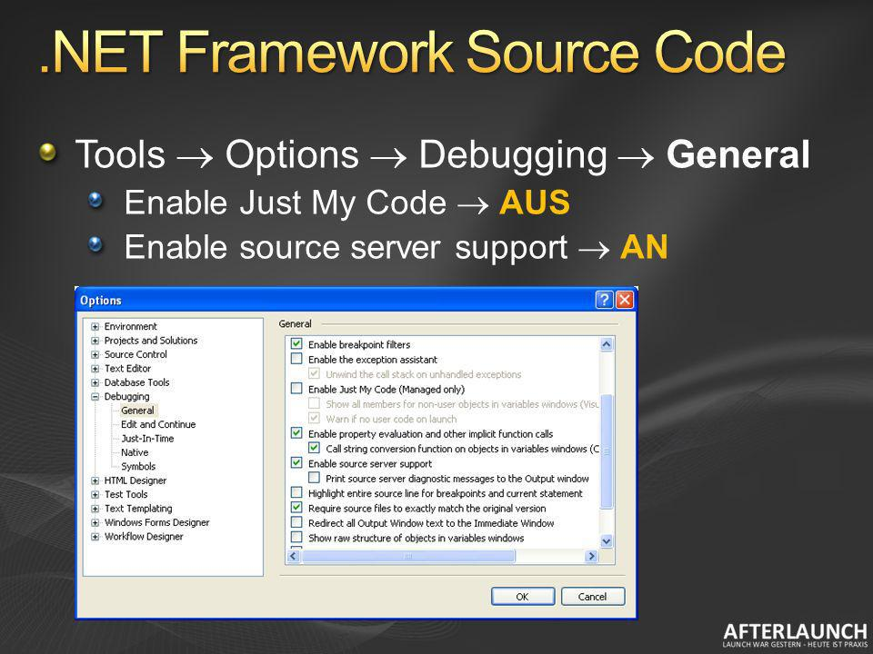 Tools Options Debugging General Enable Just My Code AUS Enable source server support AN