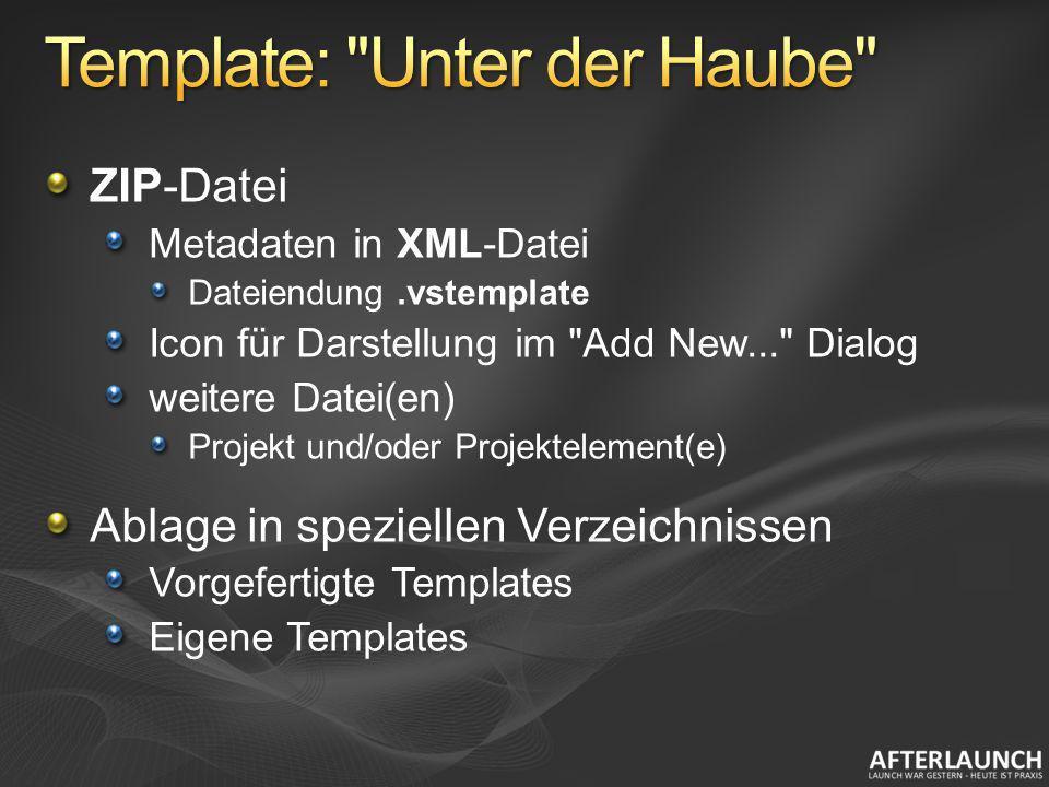 ZIP-Datei Metadaten in XML-Datei Dateiendung.vstemplate Icon für Darstellung im