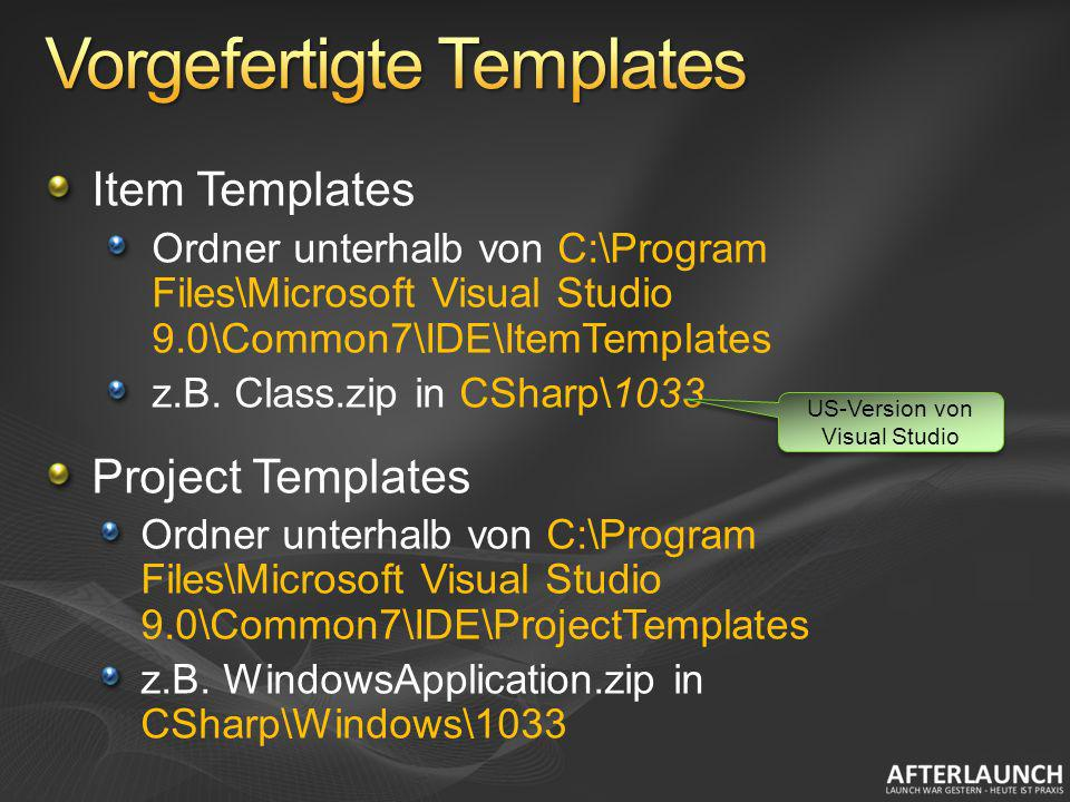 Item Templates Ordner unterhalb von C:\Program Files\Microsoft Visual Studio 9.0\Common7\IDE\ItemTemplates z.B. Class.zip in CSharp\1033 Project Templ
