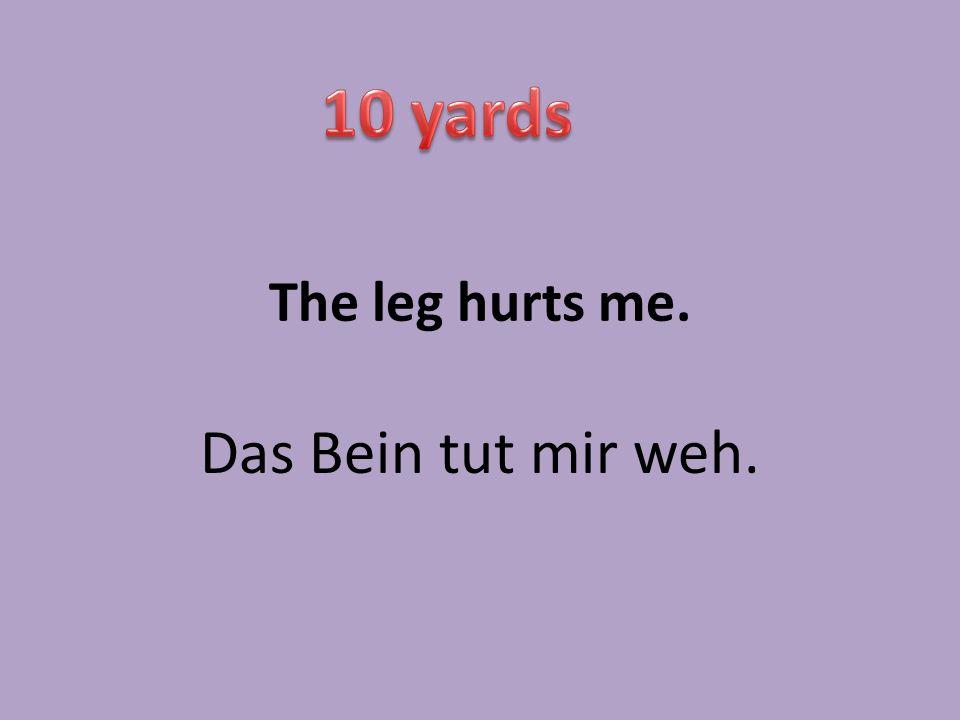 The leg hurts me. Das Bein tut mir weh.