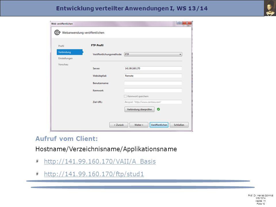 Entwicklung verteilter Anwendungen I, WS 13/14 Prof. Dr. Herrad Schmidt WS 13/14 Kapitel 11 Folie 10 Aufruf vom Client: Hostname/Verzeichnisname/Appli