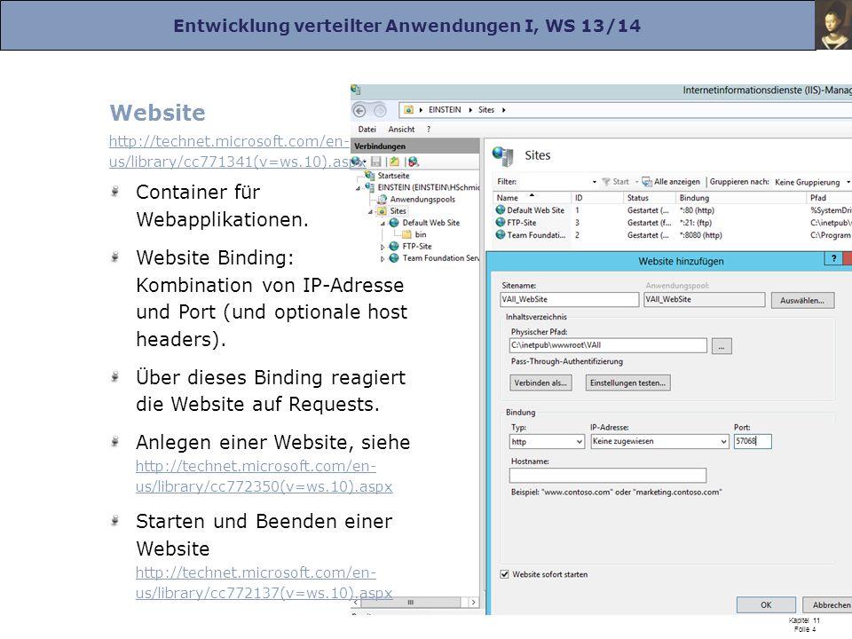 Entwicklung verteilter Anwendungen I, WS 13/14 Prof. Dr. Herrad Schmidt WS 13/14 Kapitel 11 Folie 4 Website http://technet.microsoft.com/en- us/librar