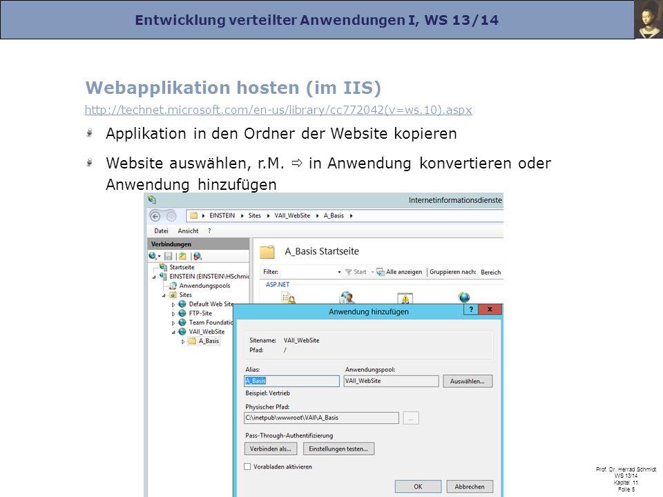 Entwicklung verteilter Anwendungen I, WS 13/14 Prof. Dr. Herrad Schmidt WS 13/14 Kapitel 11 Folie 5 Webapplikation hosten (im IIS) http://technet.micr