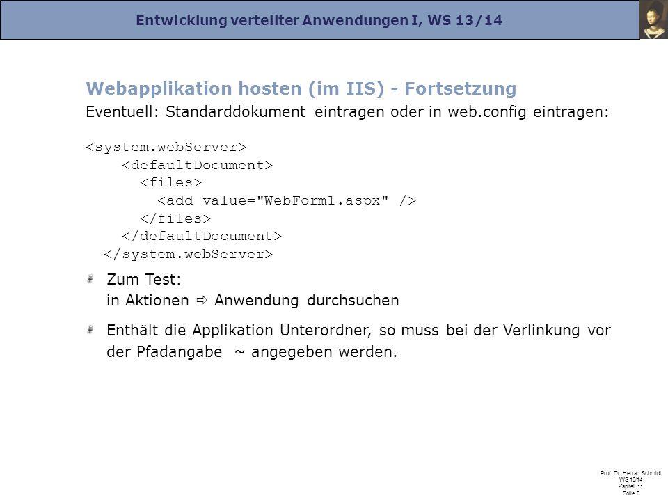 Entwicklung verteilter Anwendungen I, WS 13/14 Prof. Dr. Herrad Schmidt WS 13/14 Kapitel 11 Folie 6 Webapplikation hosten (im IIS) - Fortsetzung Event