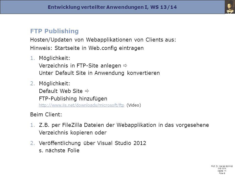 Entwicklung verteilter Anwendungen I, WS 13/14 Prof. Dr. Herrad Schmidt WS 13/14 Kapitel 11 Folie 9 FTP Publishing Hosten/Updaten von Webapplikationen
