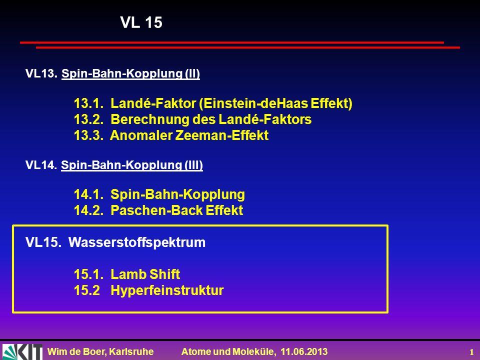 Wim de Boer, Karlsruhe Atome und Moleküle, 11.06.2013 1 VL13. Spin-Bahn-Kopplung (II) 13.1. Landé-Faktor (Einstein-deHaas Effekt) 13.2. Berechnung des