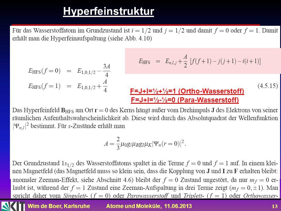 Wim de Boer, Karlsruhe Atome und Moleküle, 11.06.2013 13 Hyperfeinstruktur F=J+I=½+½=1 (Ortho-Wasserstoff) F=J+I=½-½=0 (Para-Wasserstoff)