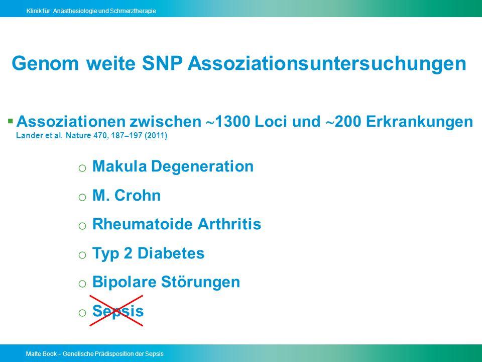 Malte Book – Genetische Prädisposition der Sepsis Klinik für Anästhesiologie und Schmerztherapie Assoziationen zwischen 1300 Loci und 200 Erkrankungen Lander et al.