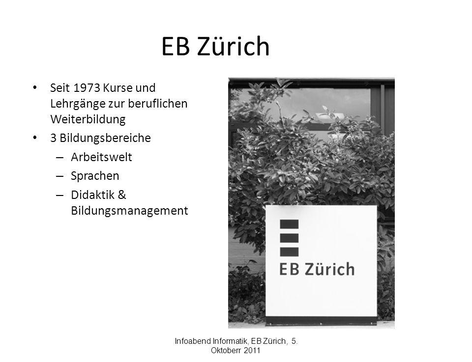 EB Zürich Seit 1973 Kurse und Lehrgänge zur beruflichen Weiterbildung 3 Bildungsbereiche – Arbeitswelt – Sprachen – Didaktik & Bildungsmanagement Infoabend Informatik, EB Zürich, 5.