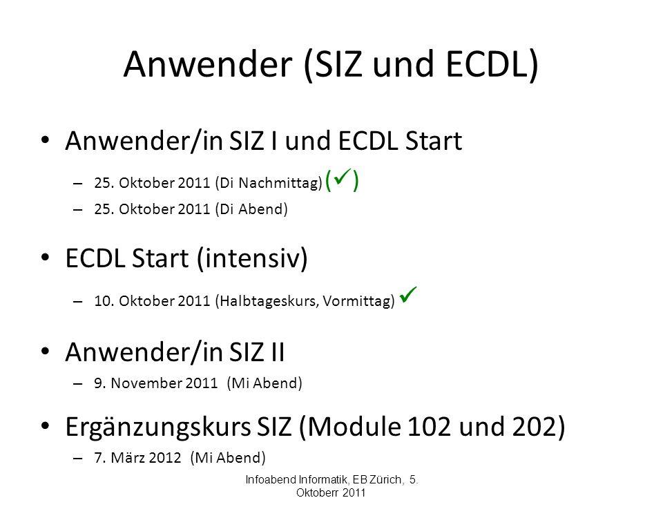 Anwender (SIZ und ECDL) Anwender/in SIZ I und ECDL Start – 25. Oktober 2011 (Di Nachmittag) ( ) – 25. Oktober 2011 (Di Abend) ECDL Start (intensiv) –