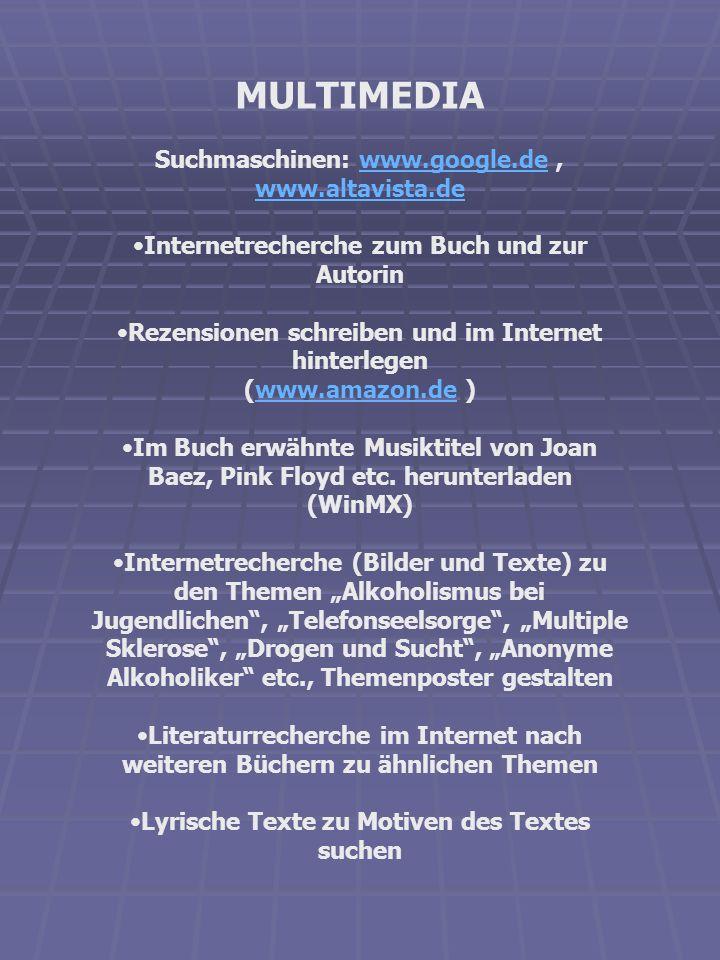 MULTIMEDIA Suchmaschinen: www.google.de, www.altavista.dewww.google.de www.altavista.de Internetrecherche zum Buch und zur Autorin Rezensionen schreib