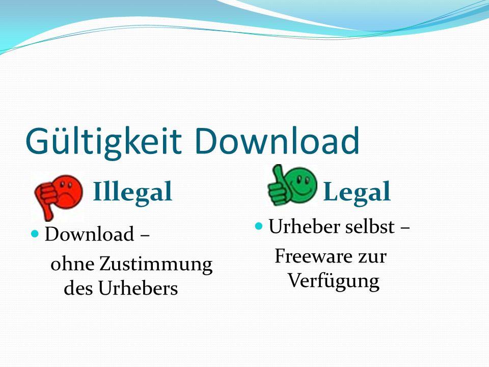 Gültigkeit Download Illegal Legal Download – ohne Zustimmung des Urhebers Urheber selbst – Freeware zur Verfügung