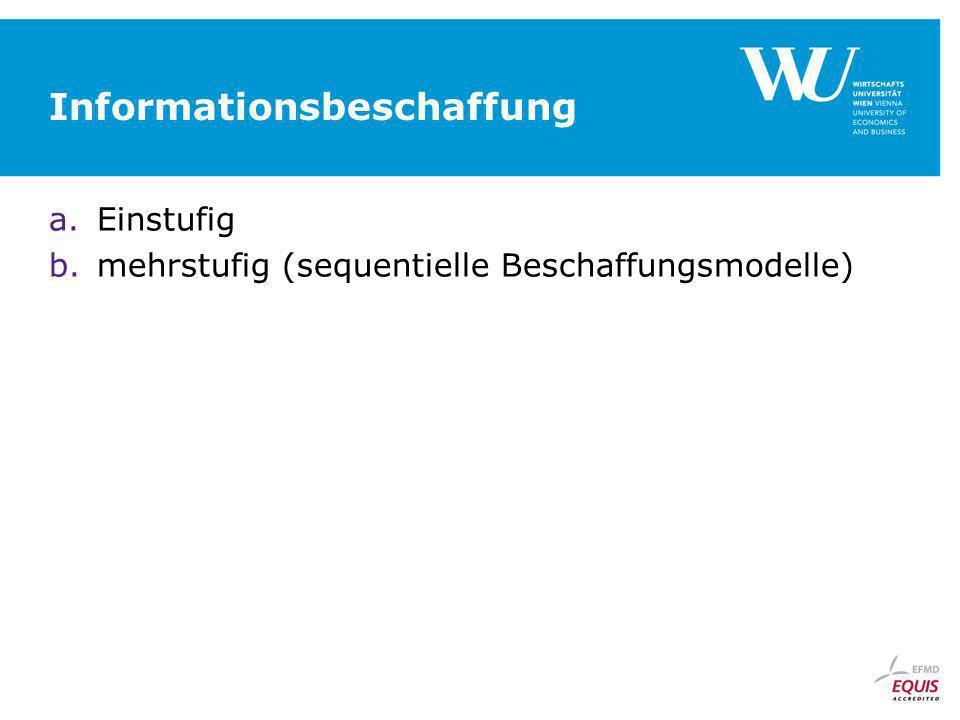 Informationsbeschaffung a.Einstufig b.mehrstufig (sequentielle Beschaffungsmodelle)