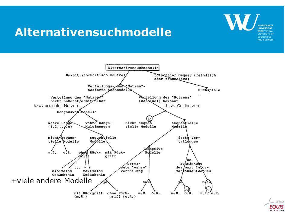 Alternativensuchmodelle +viele andere Modelle bzw. ordinaler Nutzenbzw. Geldnutzen