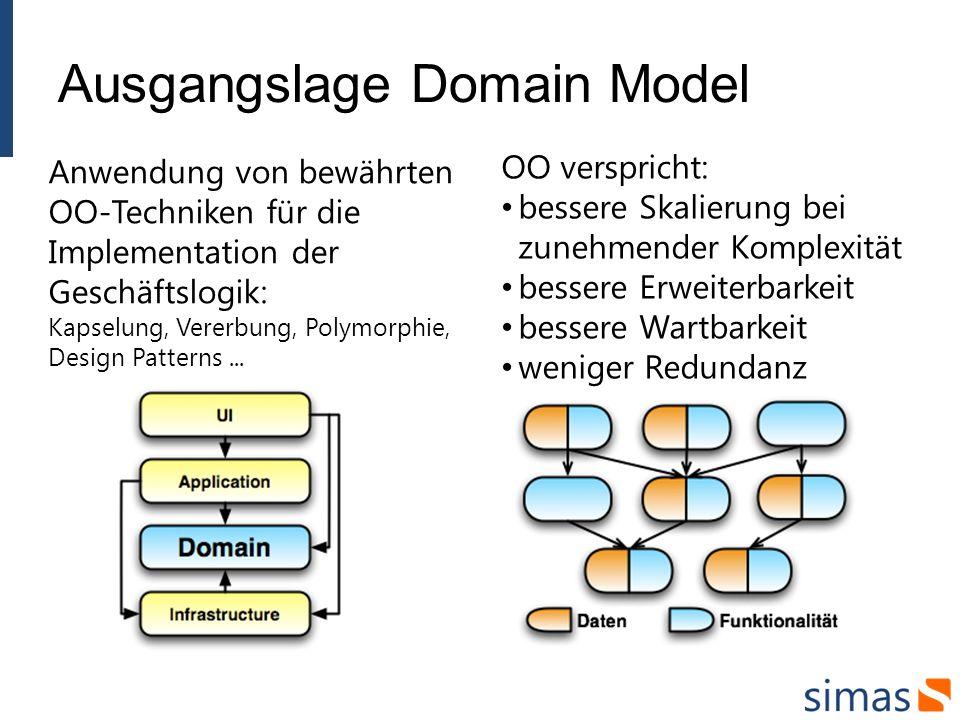 Anwendung von bewährten OO-Techniken für die Implementation der Geschäftslogik: Kapselung, Vererbung, Polymorphie, Design Patterns...