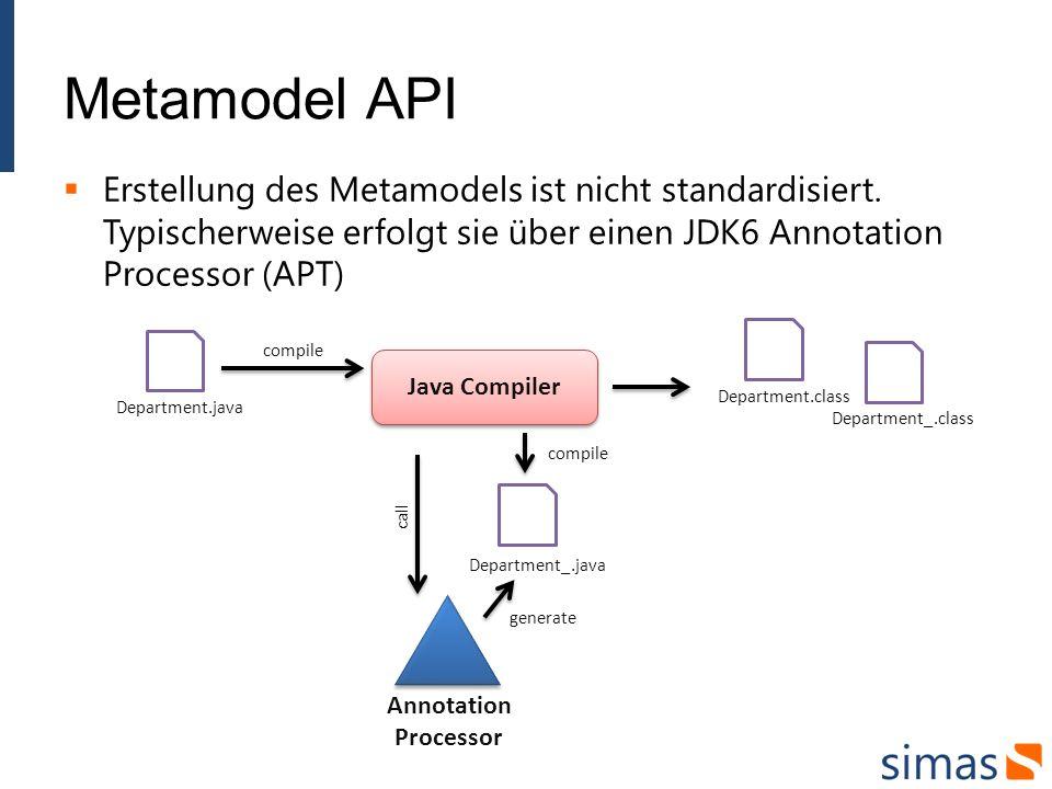 Metamodel API Erstellung des Metamodels ist nicht standardisiert. Typischerweise erfolgt sie über einen JDK6 Annotation Processor (APT) Java Compiler