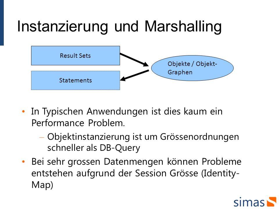 Instanzierung und Marshalling In Typischen Anwendungen ist dies kaum ein Performance Problem. – Objektinstanzierung ist um Grössenordnungen schneller