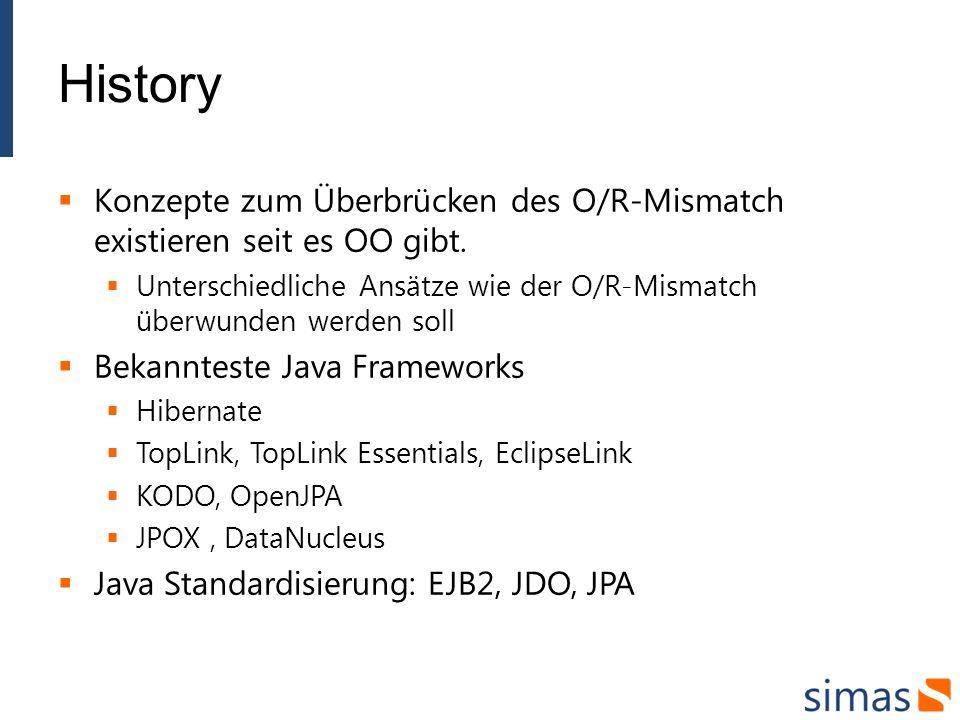 History Konzepte zum Überbrücken des O/R-Mismatch existieren seit es OO gibt.