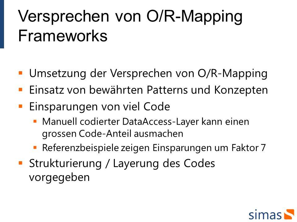 Versprechen von O/R-Mapping Frameworks Umsetzung der Versprechen von O/R-Mapping Einsatz von bewährten Patterns und Konzepten Einsparungen von viel Code Manuell codierter DataAccess-Layer kann einen grossen Code-Anteil ausmachen Referenzbeispiele zeigen Einsparungen um Faktor 7 Strukturierung / Layerung des Codes vorgegeben