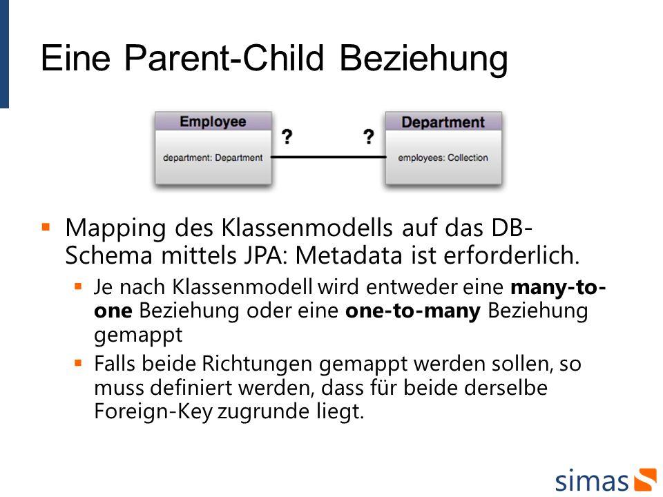 Eine Parent-Child Beziehung Mapping des Klassenmodells auf das DB- Schema mittels JPA: Metadata ist erforderlich.