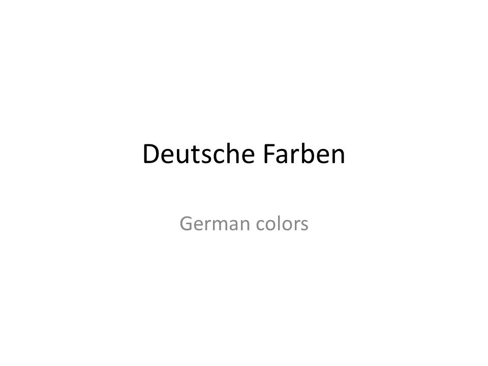 Deutsche Farben German colors