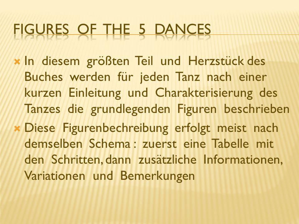 In diesem größten Teil und Herzstück des Buches werden für jeden Tanz nach einer kurzen Einleitung und Charakterisierung des Tanzes die grundlegenden