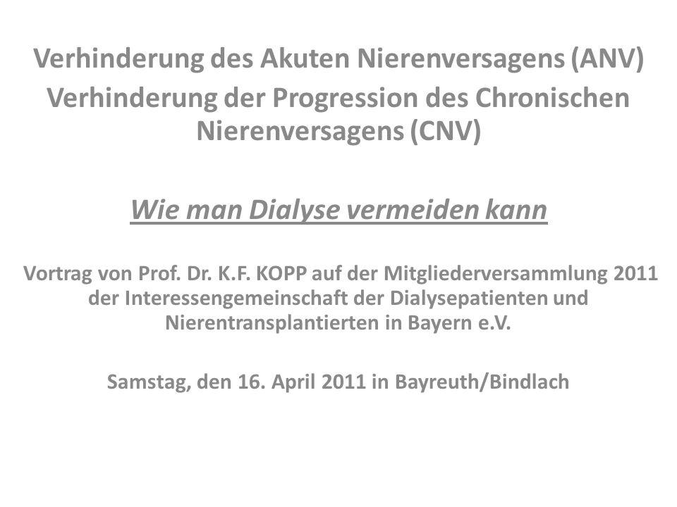 Verhinderung des Akuten Nierenversagens (ANV) Verhinderung der Progression des Chronischen Nierenversagens (CNV) Wie man Dialyse vermeiden kann Vortra