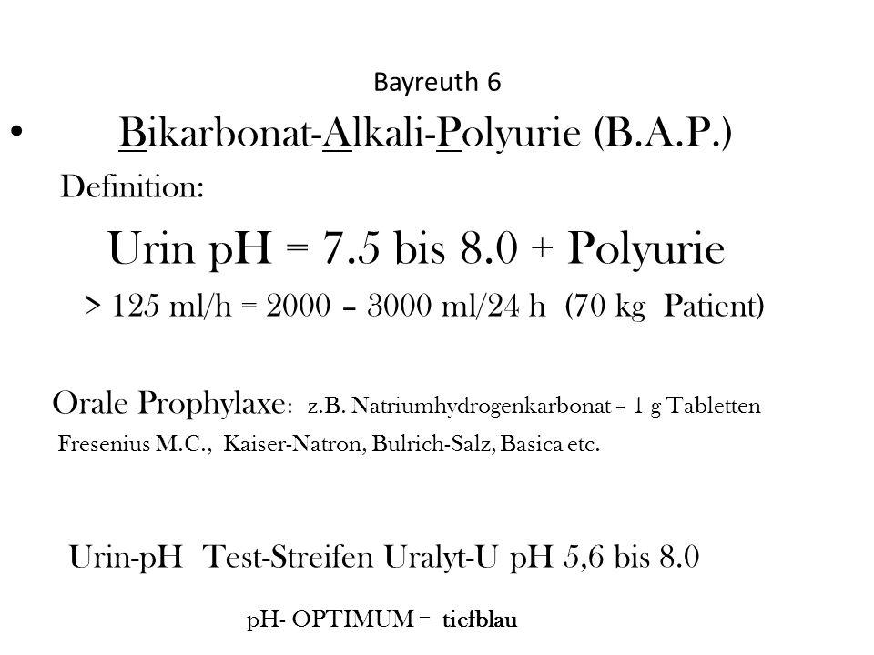 Bayreuth 6 Bikarbonat-Alkali-Polyurie (B.A.P.) Definition: Urin pH = 7.5 bis 8.0 + Polyurie > 125 ml/h = 2000 – 3000 ml/24 h (70 kg Patient) Orale Pro